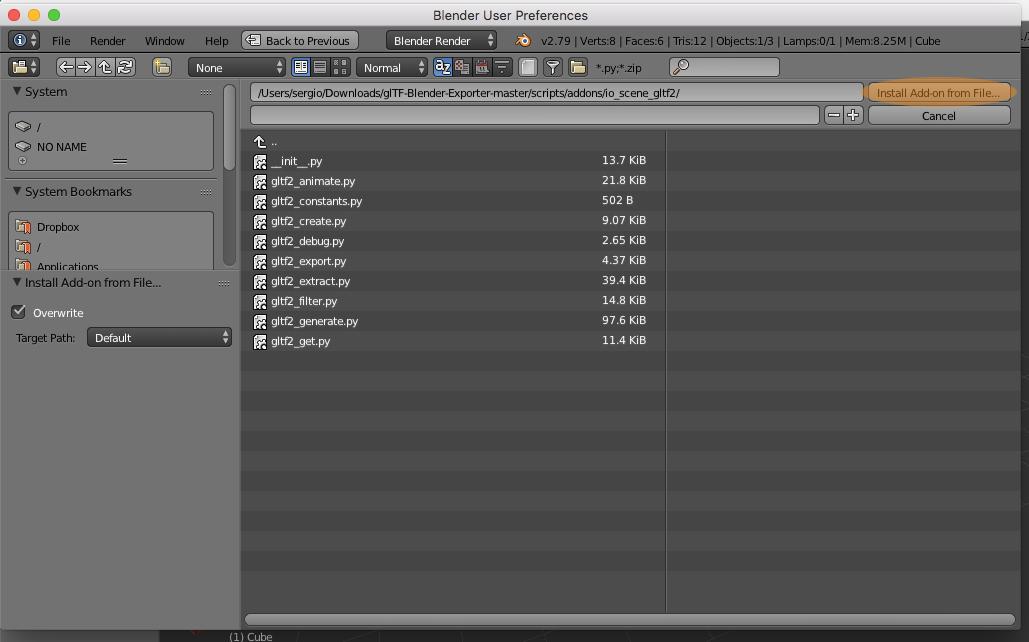 Install Add-on Blender .glTF Exporter